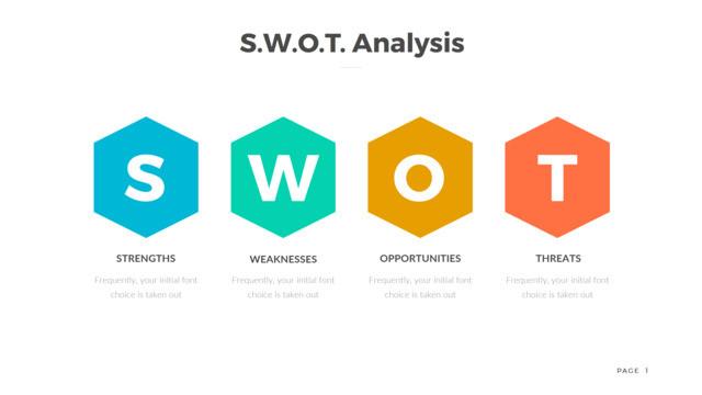 彩色蜂窝六边形SWOT分析PPT