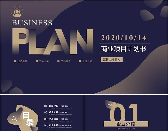 黑金大气商业项目计划书PPT模板