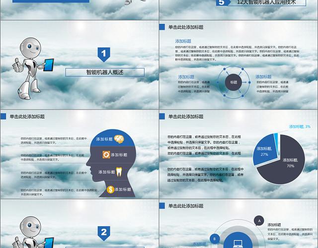 蓝色高科技人工智能工业机器人PPT模板